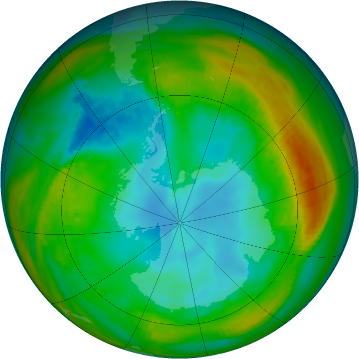 Antarctic ozone map for 25 July 1982