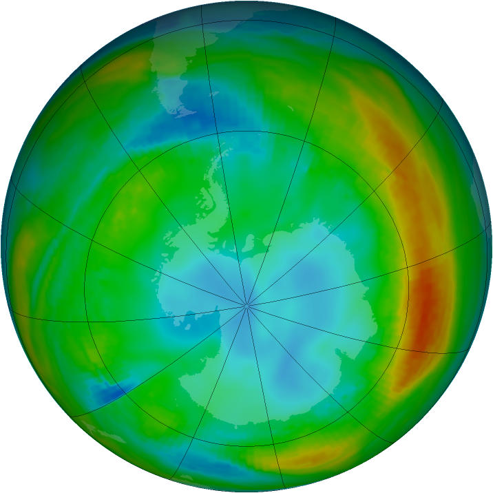 Antarctic ozone map for 26 July 1982