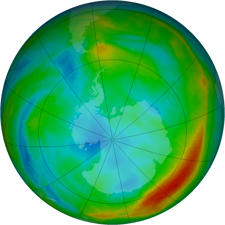Antarctic ozone map for 28 July 1982