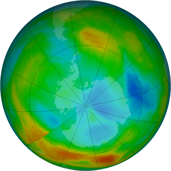 Antarctic ozone map for 01 August 1982