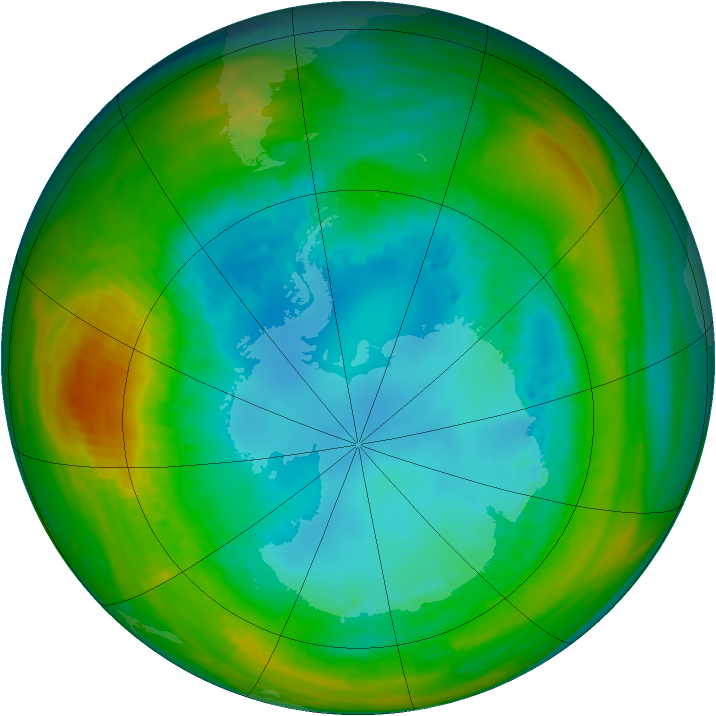 Antarctic ozone map for 13 August 1982