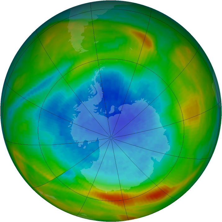 Antarctic ozone map for 15 September 1982