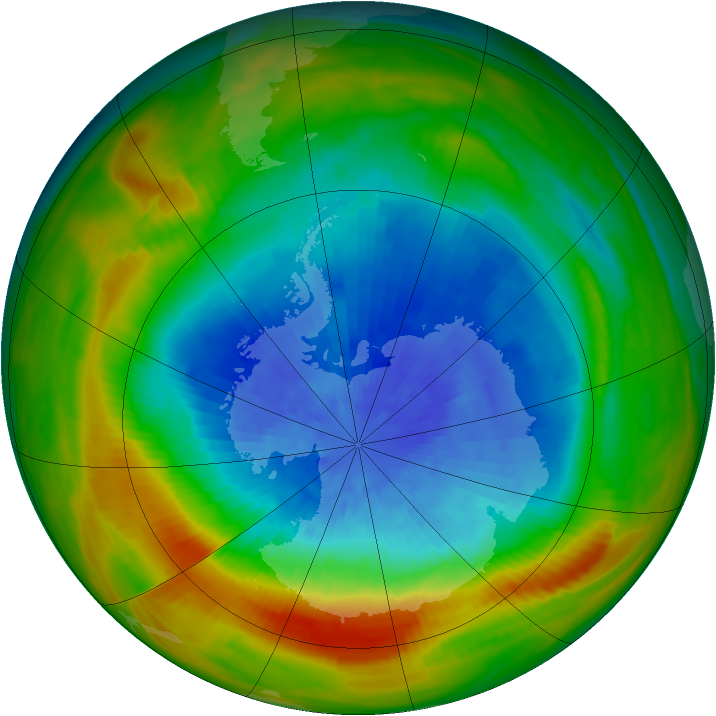 Antarctic ozone map for 27 September 1982