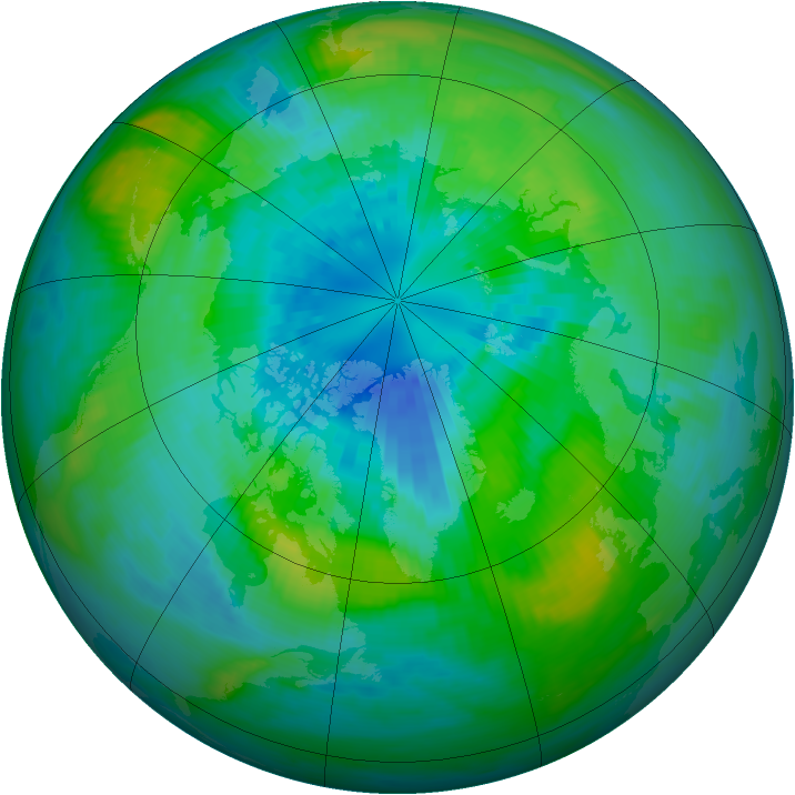 Arctic ozone map for 28 September 1982