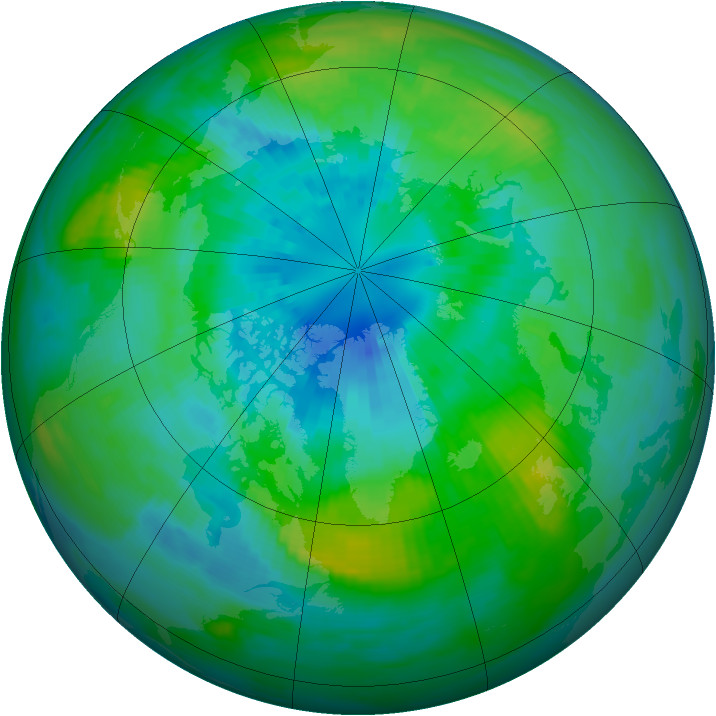 Arctic ozone map for 29 September 1982