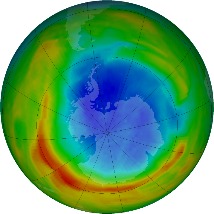 Antarctic ozone map for 29 September 1982