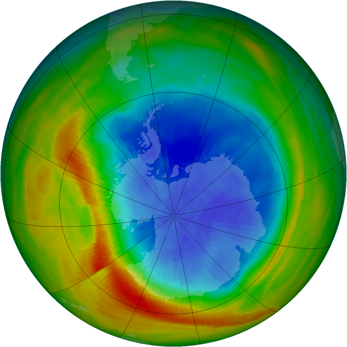 Antarctic ozone map for 01 October 1982