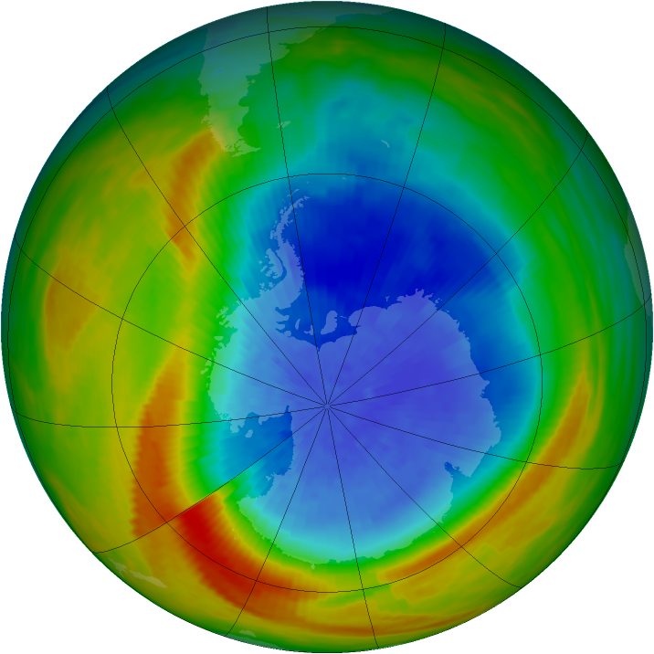 Antarctic ozone map for 02 October 1982
