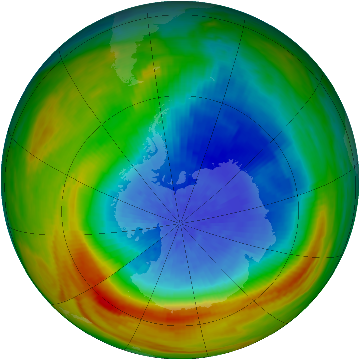 Antarctic ozone map for 03 October 1982