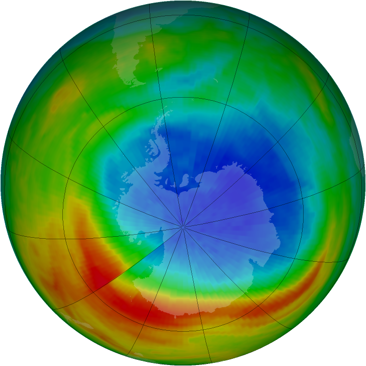 Antarctic ozone map for 04 October 1982