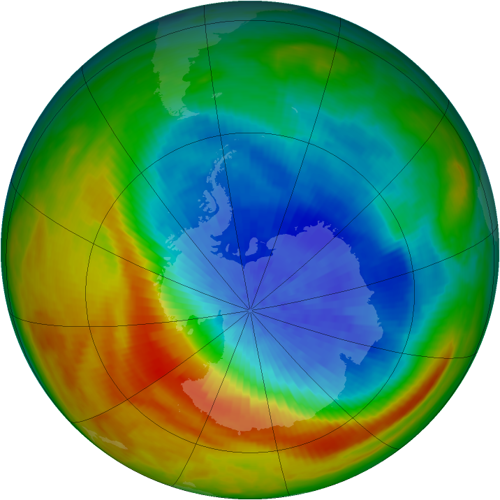Antarctic ozone map for 06 October 1982