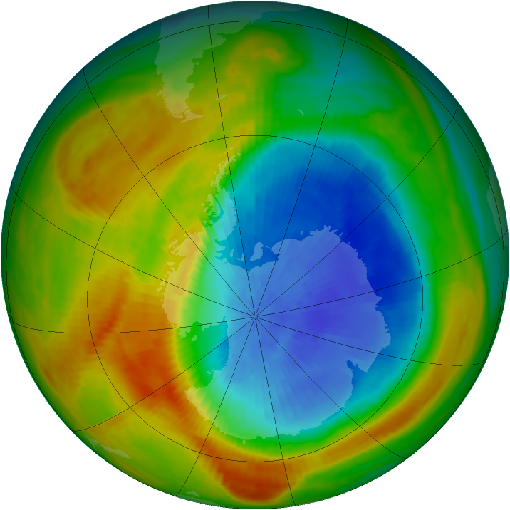 Antarctic ozone map for 18 October 1982