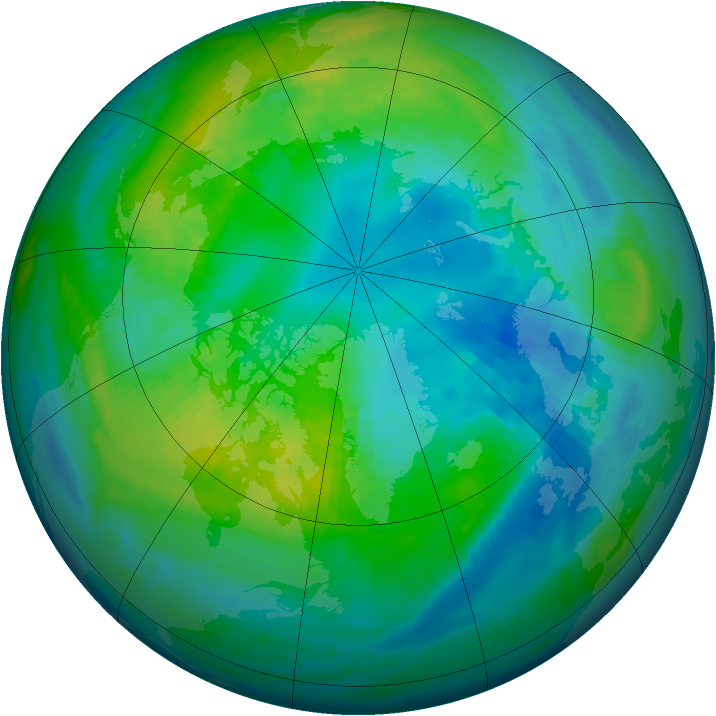 Arctic ozone map for 19 October 1982
