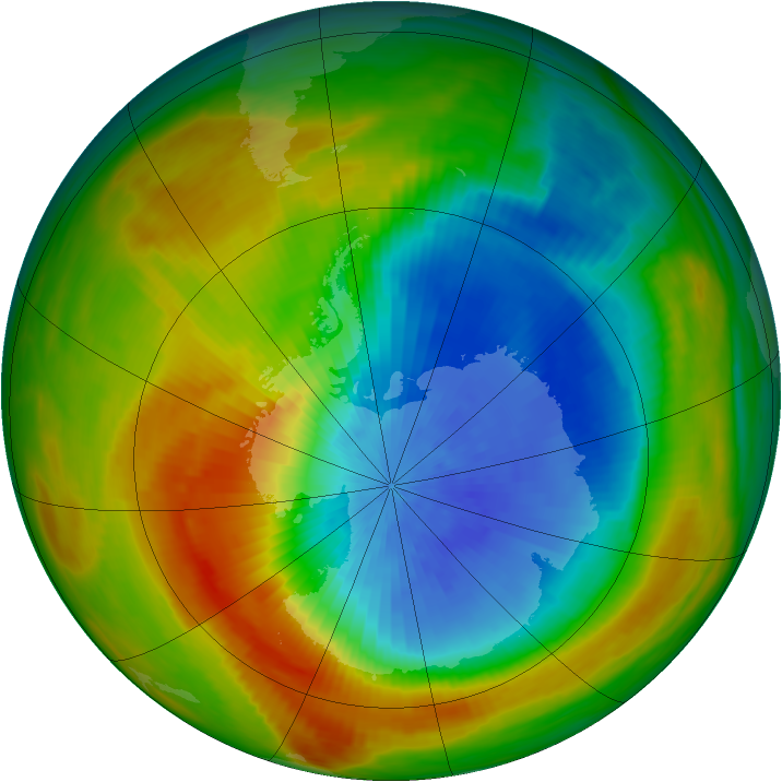Antarctic ozone map for 19 October 1982