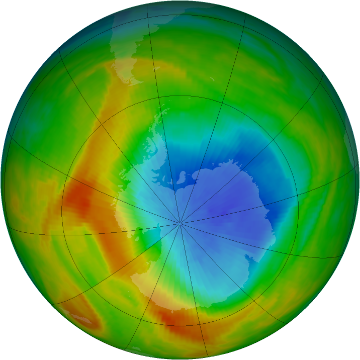 Antarctic ozone map for 25 October 1982