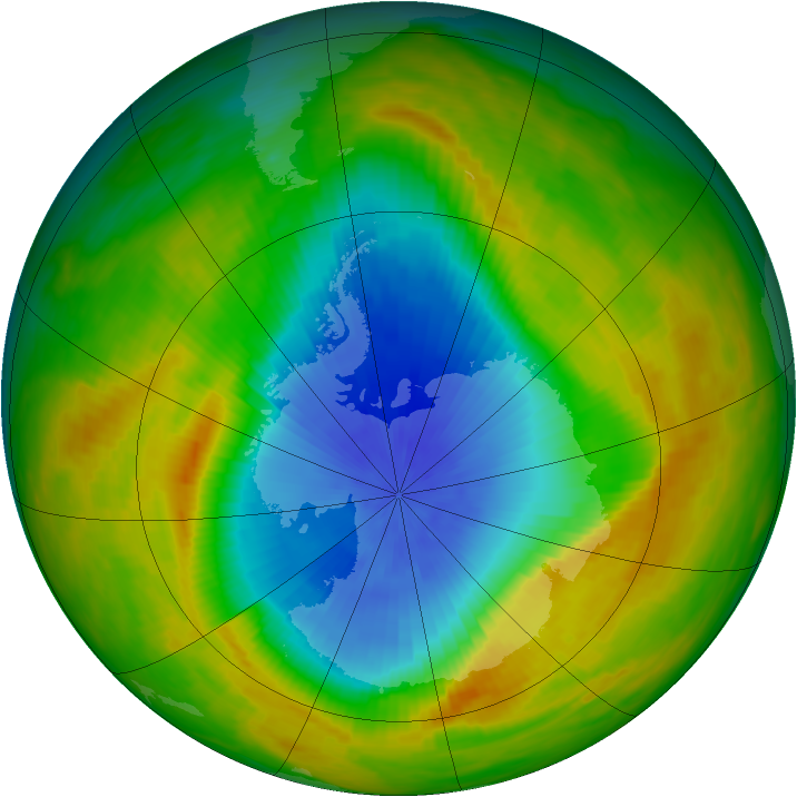 Antarctic ozone map for 30 October 1982