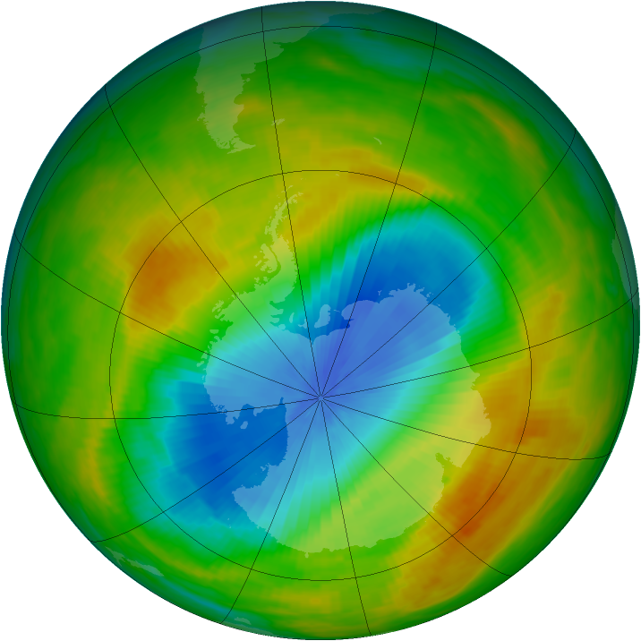 Antarctic ozone map for 06 November 1982