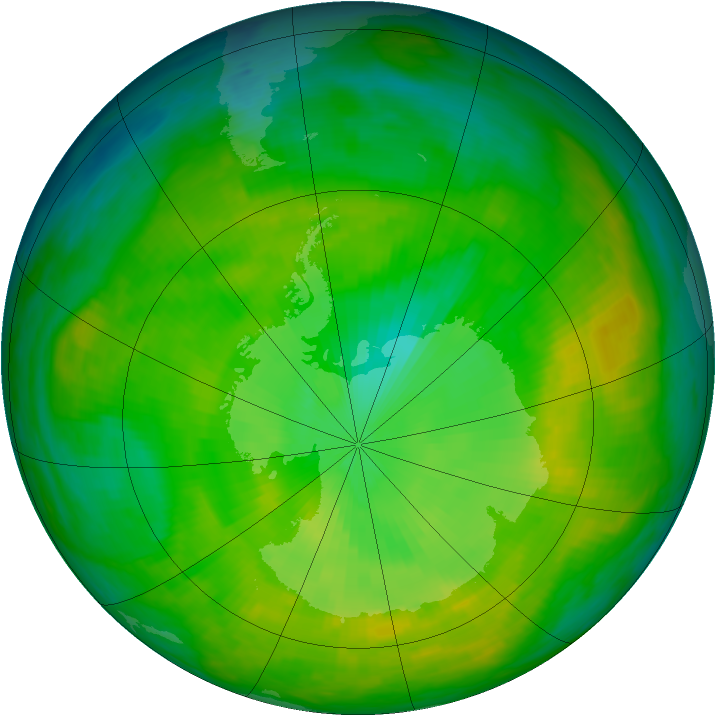 Antarctic ozone map for 04 December 1982