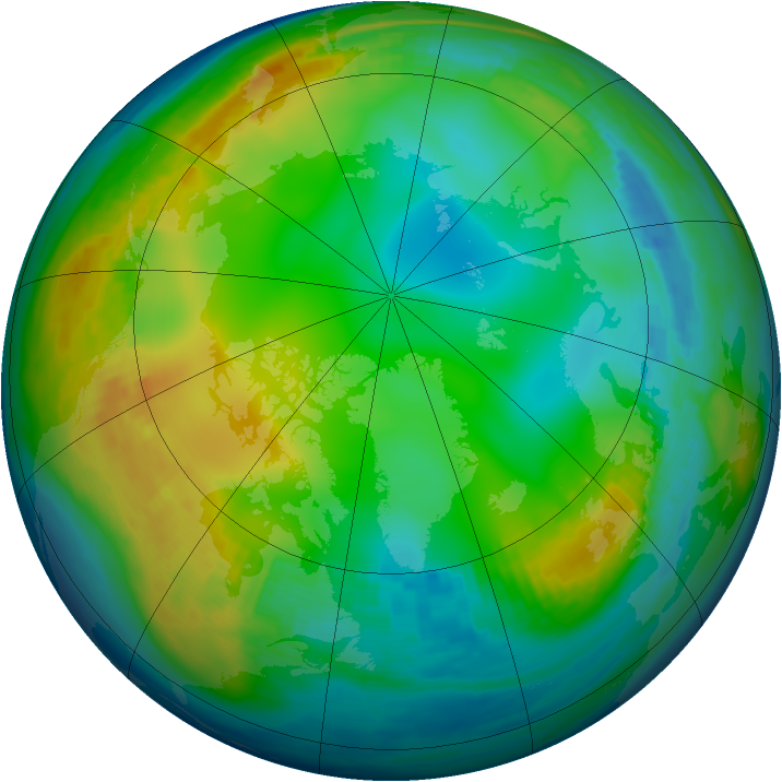 Arctic ozone map for 20 December 1982