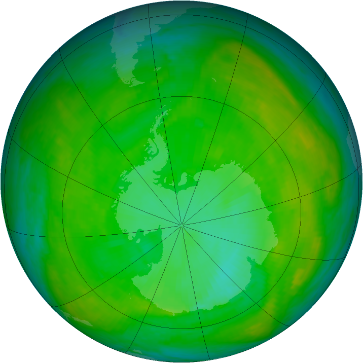Antarctic ozone map for 27 December 1982