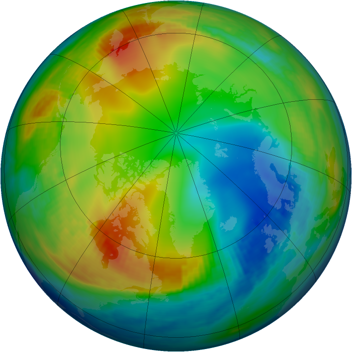 Arctic ozone map for 31 December 1982
