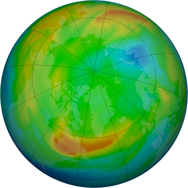 Arctic ozone map for 03 January 1983