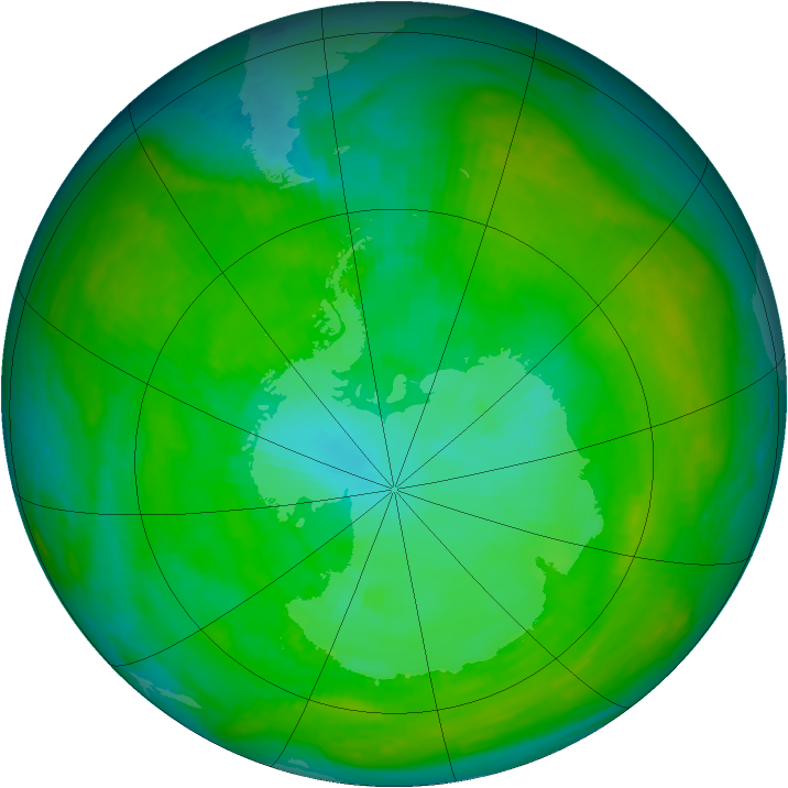 Antarctic ozone map for 04 January 1983