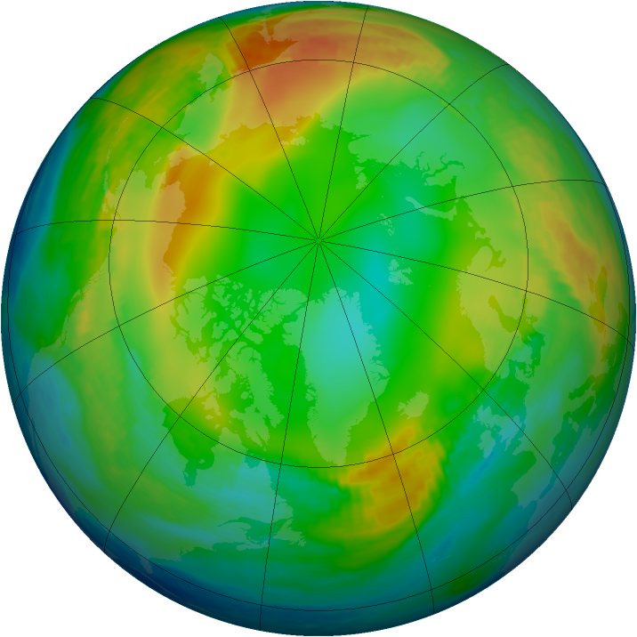Arctic ozone map for 05 January 1983