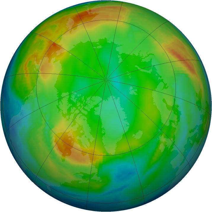 Arctic ozone map for 07 January 1983