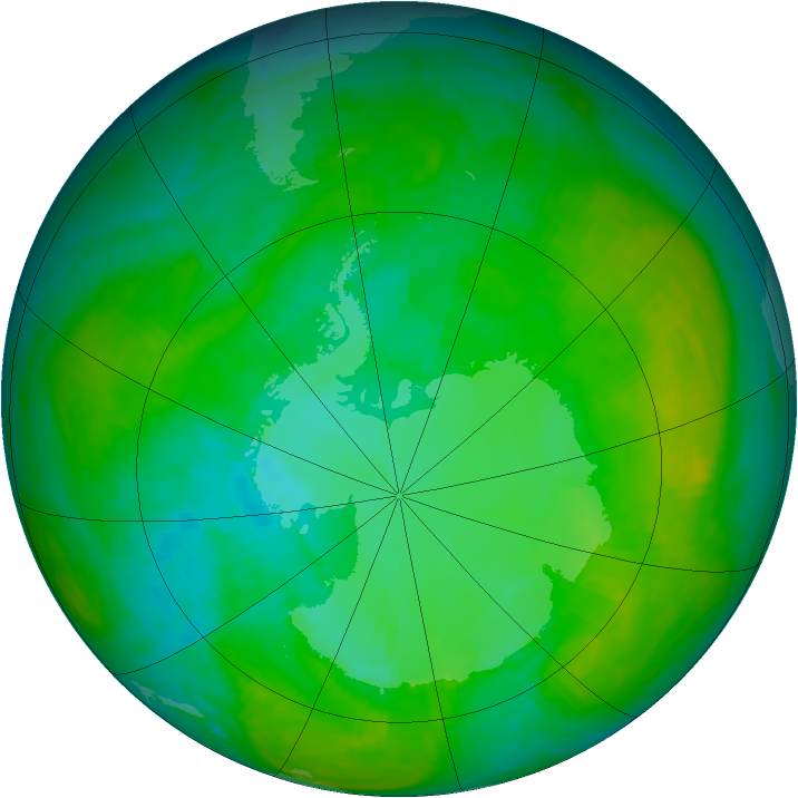 Antarctic ozone map for 10 January 1983