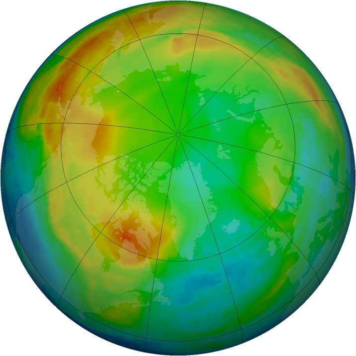 Arctic ozone map for 13 January 1983