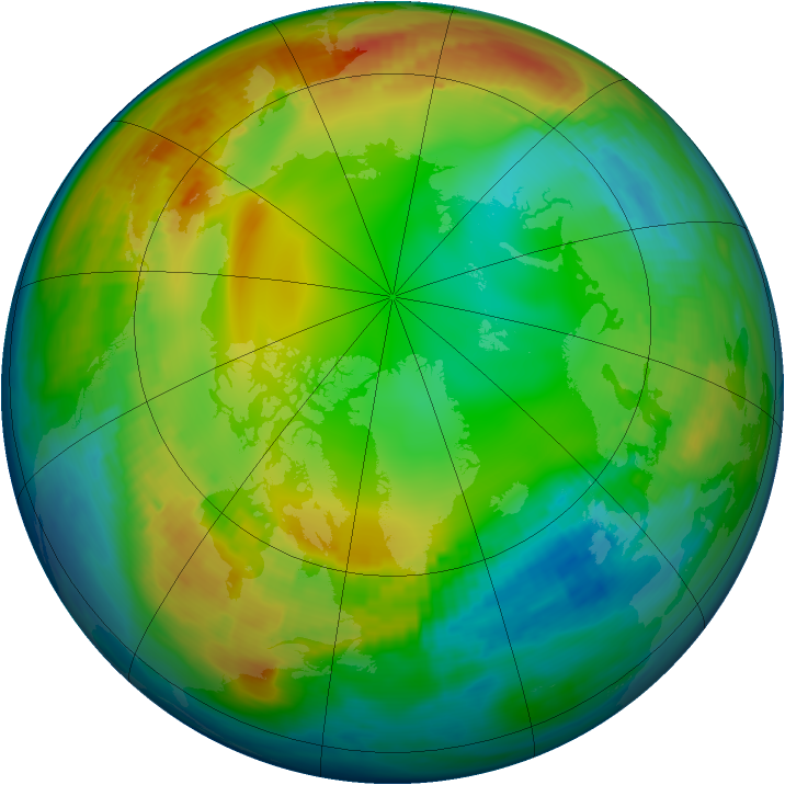 Arctic ozone map for 16 January 1983