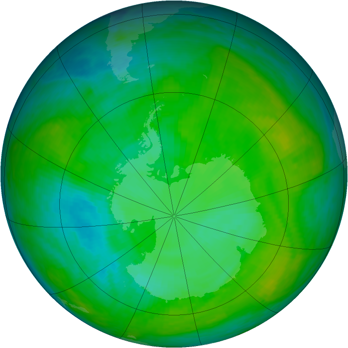 Antarctic ozone map for 16 January 1983