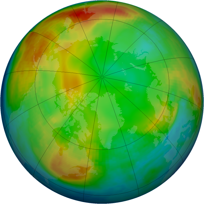Arctic ozone map for 18 January 1983