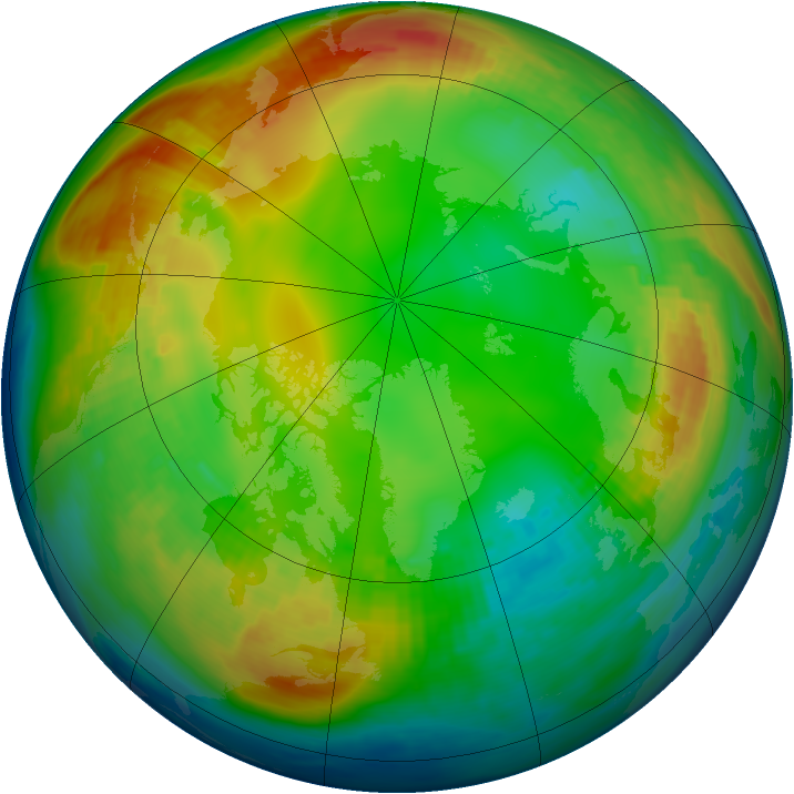 Arctic ozone map for 19 January 1983