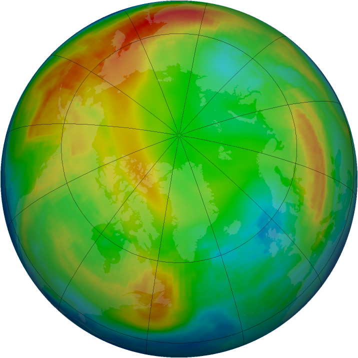 Arctic ozone map for 20 January 1983
