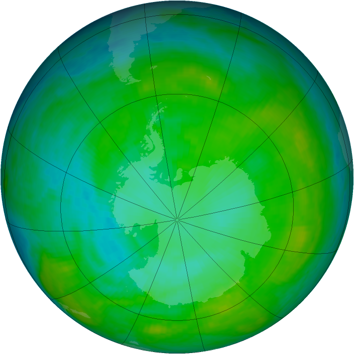 Antarctic ozone map for 20 January 1983