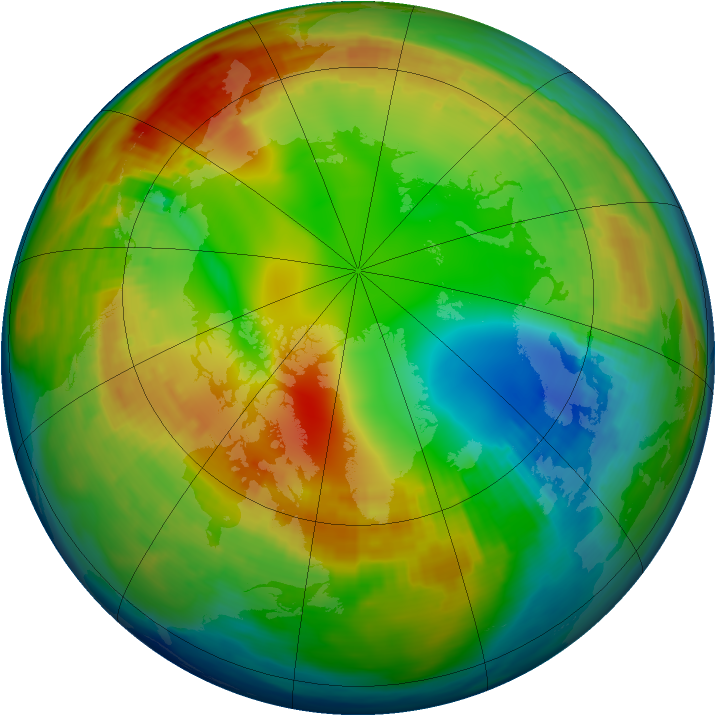 Arctic ozone map for 23 January 1983