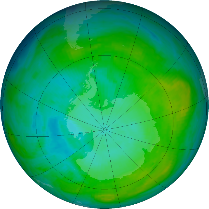Antarctic ozone map for 28 January 1983