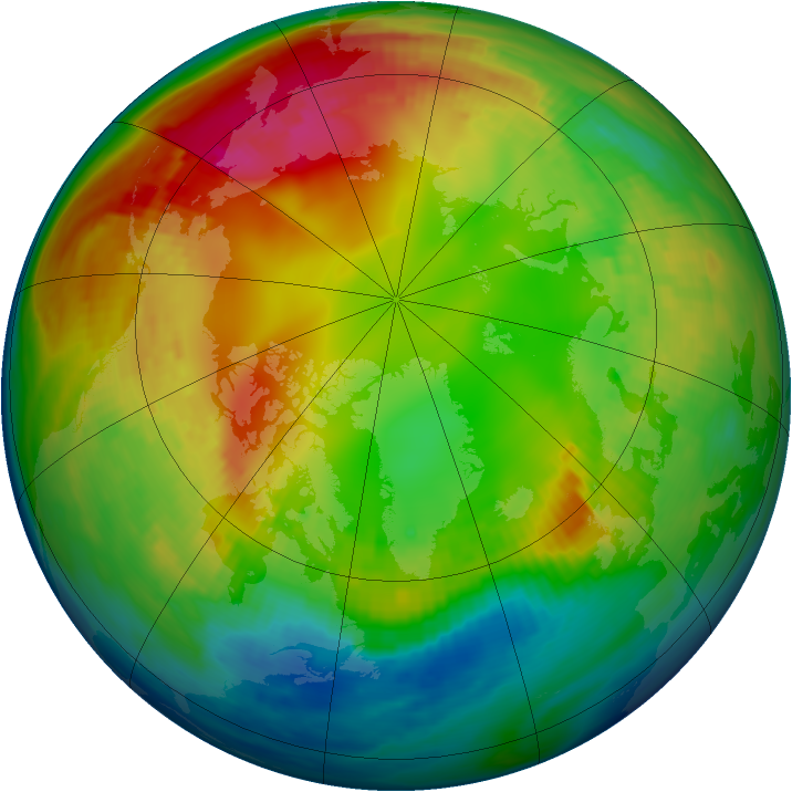Arctic ozone map for 30 January 1983