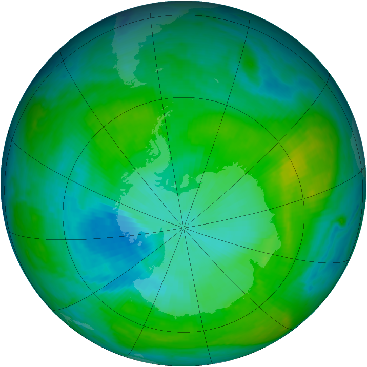 Antarctic ozone map for 03 February 1983
