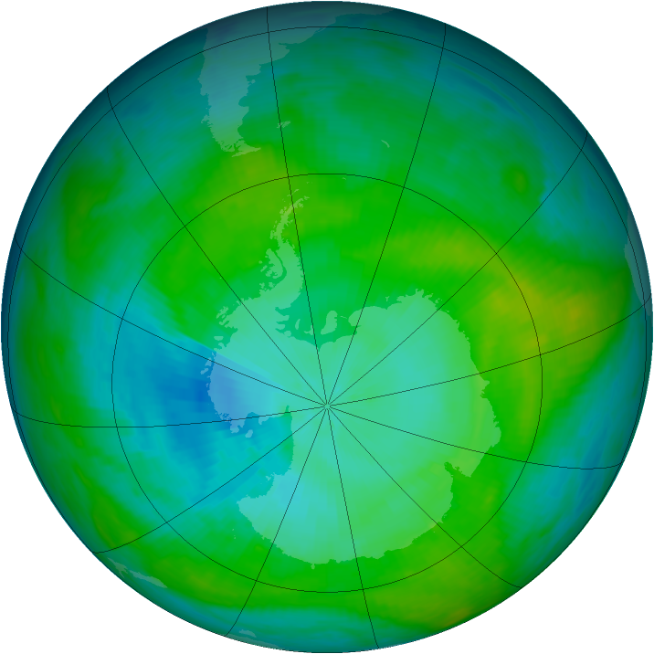 Antarctic ozone map for 04 February 1983