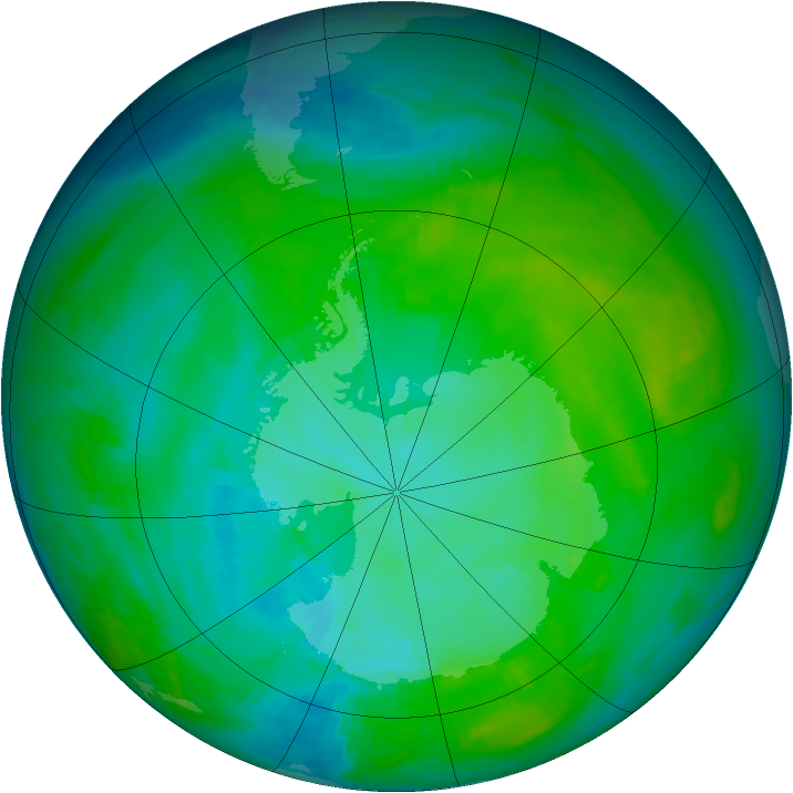 Antarctic ozone map for 08 February 1983
