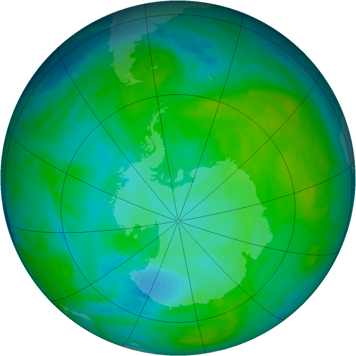 Antarctic ozone map for 09 February 1983