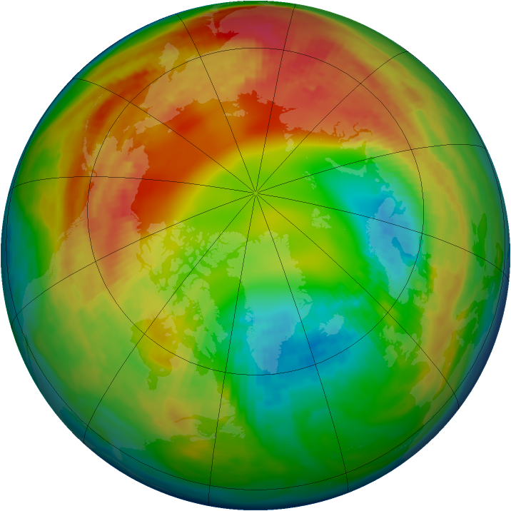 Arctic ozone map for 10 February 1983