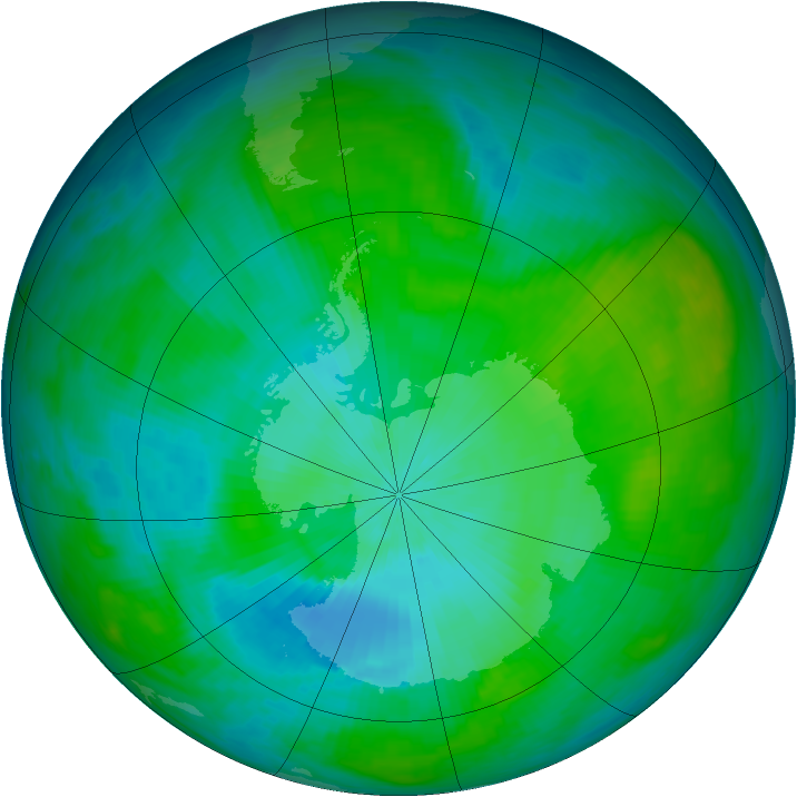 Antarctic ozone map for 10 February 1983