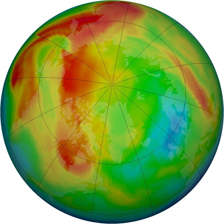 Arctic ozone map for 18 February 1983