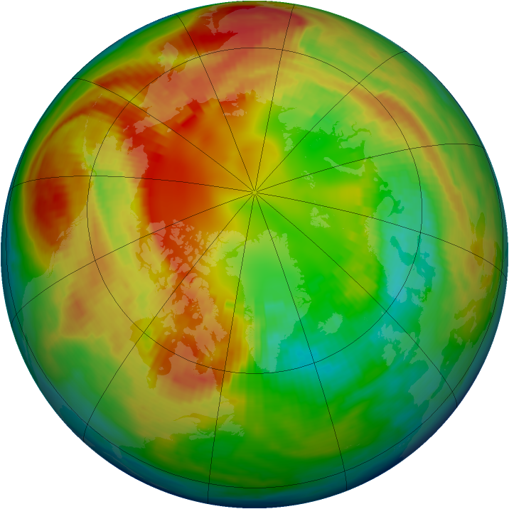 Arctic ozone map for 19 February 1983