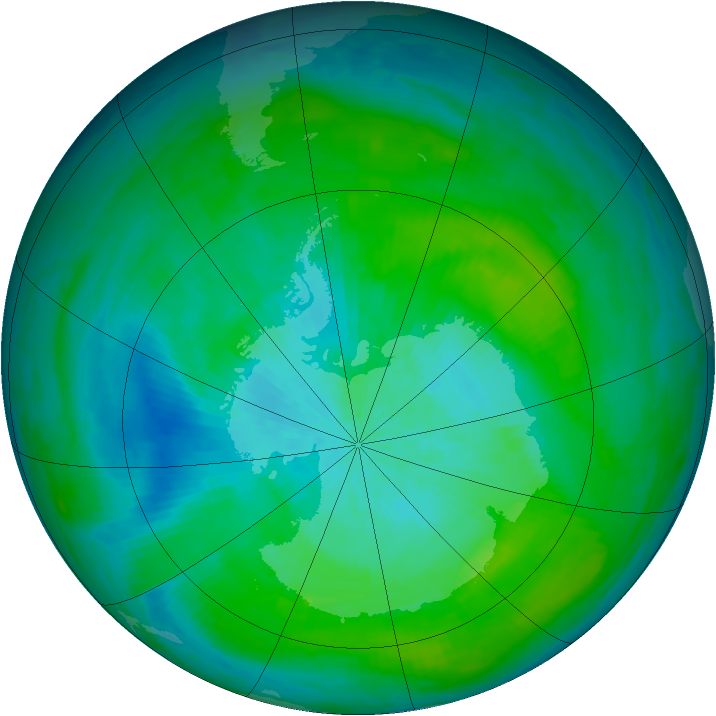 Antarctic ozone map for 20 February 1983