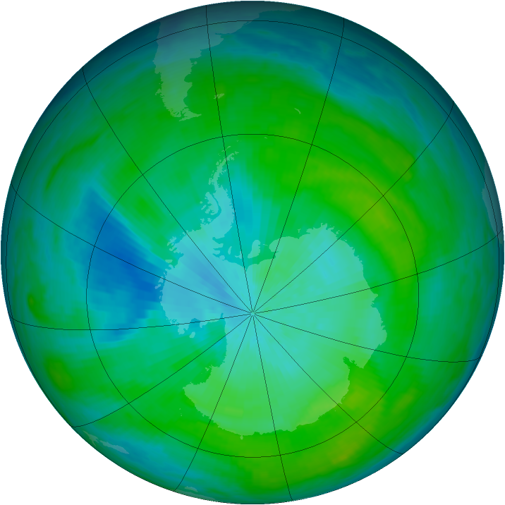 Antarctic ozone map for 21 February 1983
